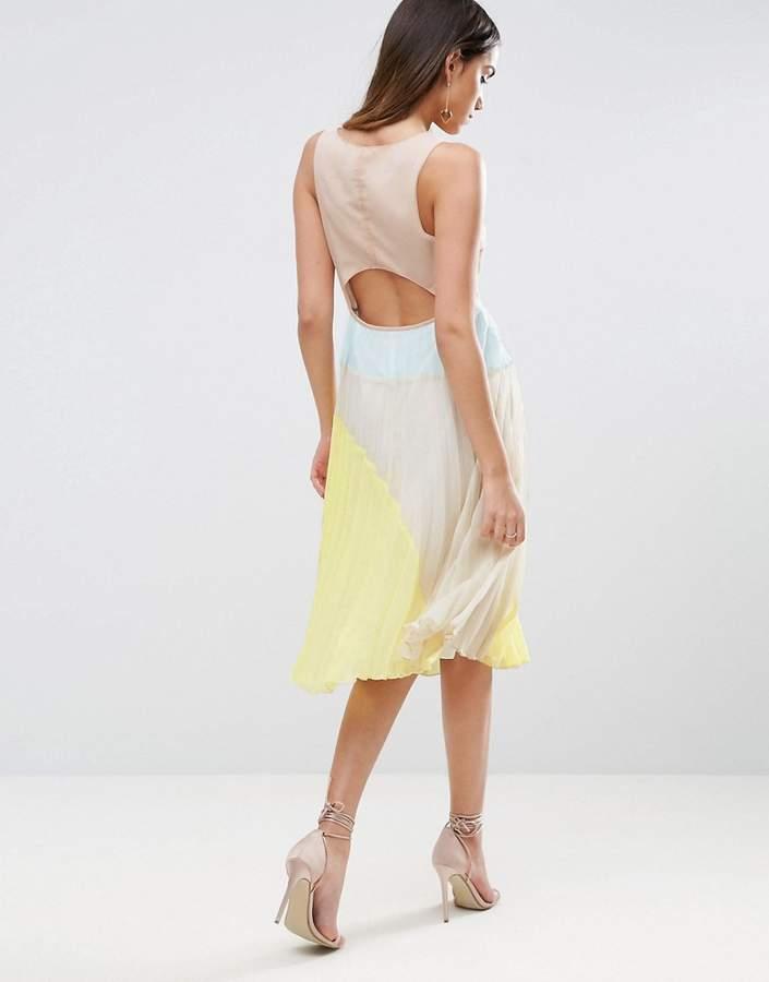 AsosASOS Cut Out Back Color Block Pleated Midi Dress