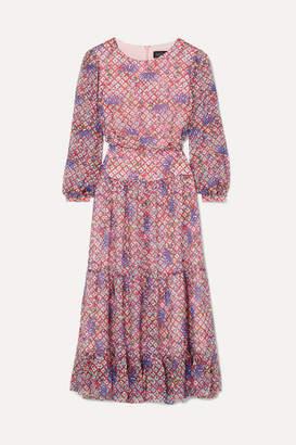 Saloni Isabel Ruffled Printed Silk-georgette Midi Dress - Lilac
