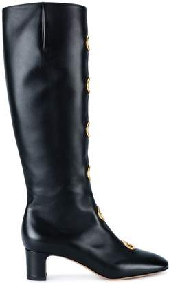 Valentino Black Leather eyelet 55 boots