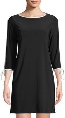Neiman Marcus Split-Sleeve Piped A-Line Dress
