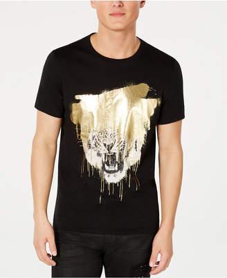 a81ff021cae8 GUESS Men Gold Foil Spray Tiger T-Shirt