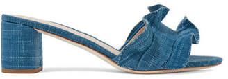 Loeffler Randall - Vera Ruffle-trimmed Denim Sandals - Mid denim $325 thestylecure.com