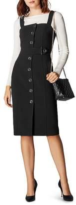 Karen Millen Button-Front Pinafore Dress