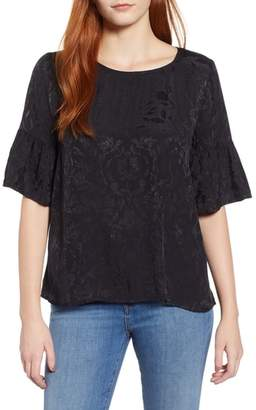 Lucky Brand Floral Jacquard Top