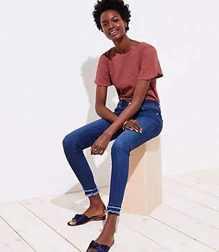 LOFT Petite Modern Double Frayed Skinny Ankle Jeans in Dark Stonewash