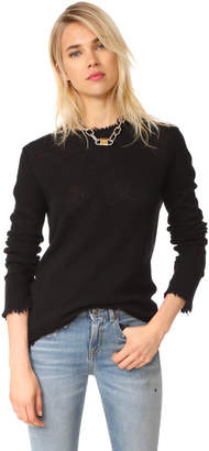 R 13 Distressed Edge Cashmere Sweater