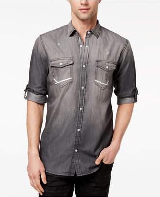 INC International Concepts I.n.c. Men's Destroyed Denim Utility Shirt, Created for Macy's