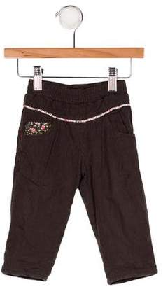 Catimini Girls' Pinstripe Embroidered Pants