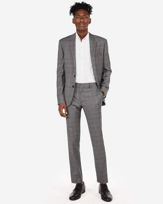 Express Extra Slim Plaid Wool-Blend Stretch Suit Pant