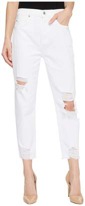 7 For All Mankind High-Waist Josefina w/ Knee Holes Destroyed Hem in White Fashion 2 Women's Jeans