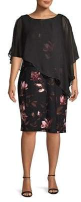 Lori Michaels Plus Floral Cape-Sleeve Sheath Dress