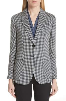 Emporio Armani Micro Houndstooth Linen, Wool & Silk Blazer