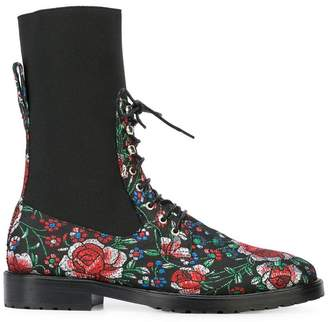 Leandra Medine floral lace-up boots