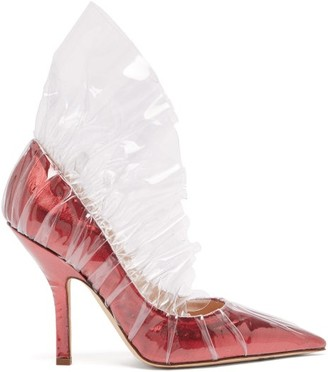 Midnight 00 - Shell Lame & Pvc Ruched Pumps - Womens - Red