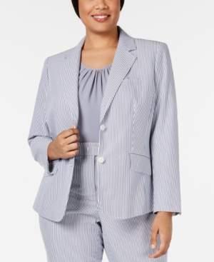 Anne Klein Plus Size Two-Button Striped Seersucker Jacket
