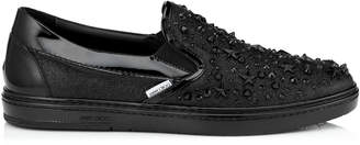 Jimmy Choo GROVE Black Fine Glitter Slip on Trainers with Stars and Crystals