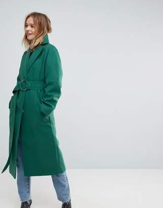 Asos Design Green D Ring Belted Long Coat