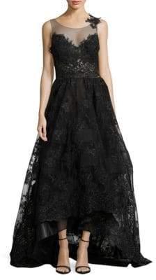 Nicole Bakti Lace Illusion Gown
