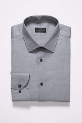 Mens Grey Signature Regular Fit Single Cuff Textured Shirt