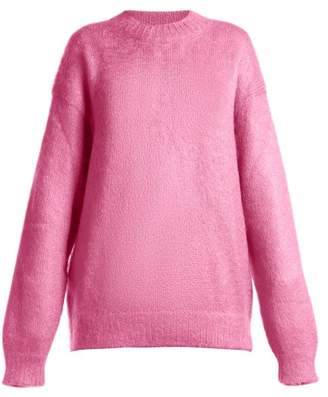 Prada Oversized Crew Neck Mohair Blend Sweater - Womens - Pink