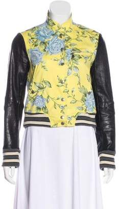 Rag & Bone Leather-Accented Floral Jacket