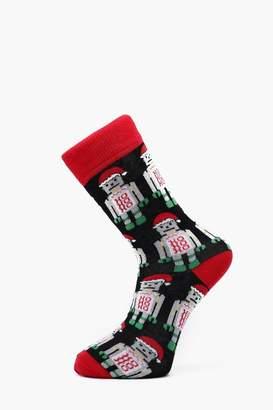 boohoo All Over Design Christmas Robot Socks