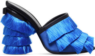 Marco De Vincenzo Fringed leather and silk mules