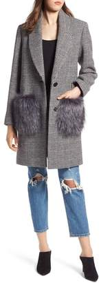 KENDALL + KYLIE Houndstooth Faux Fur Trim Coat