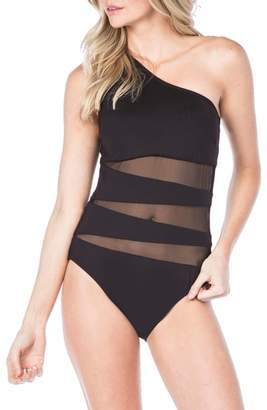 Kenneth Cole New York One-Shoulder One-Piece Swimsuit