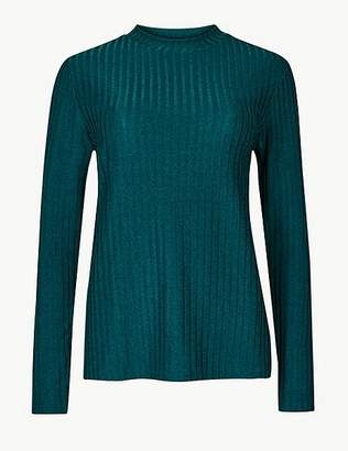 Marks and Spencer Shimmer Ribbed Round Neck Long Sleeve Top