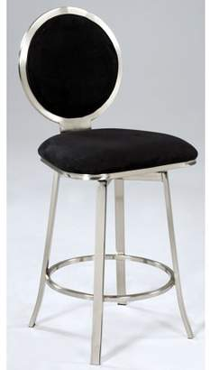 Bella Vita 0459 Upholstered Round Back Memory Swivel Bar Stool in Black Microfiber