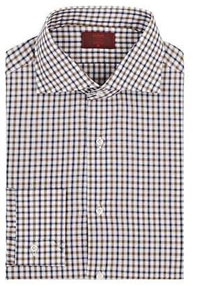 Isaia Men's Plaid Cotton Poplin Dress Shirt - Brown