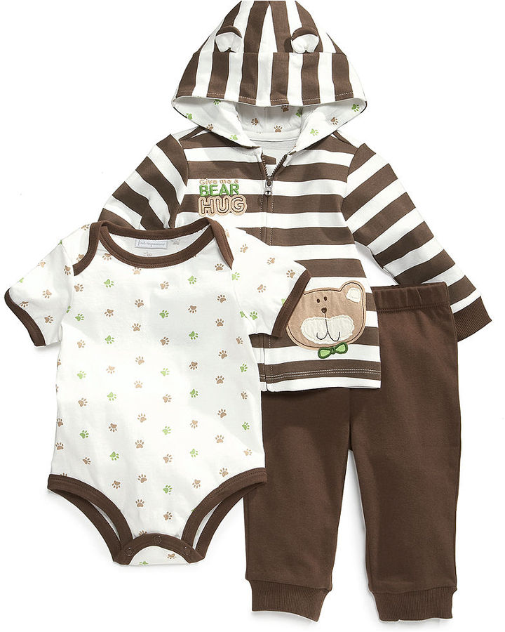 First Impressions Baby Set, Baby Boys Bear Hug 3-Piece Bodysuit, Jacket and Pants