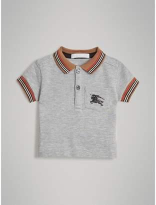 Burberry Heritage Stripe Detail Cotton Polo Shirt