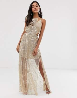 Asos Design DESIGN maxi dress with geometric embellishment and sheer panels