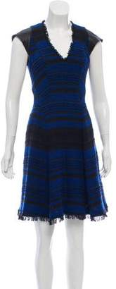 Rebecca Taylor Woven Leather-Accented Dress