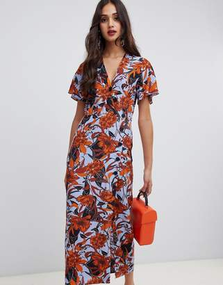 Miss Selfridge wrap midi dress with button through in floral print