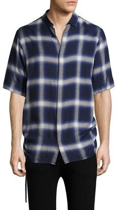 Helmut Lang Plaid Drawcord Short-Sleeve Sport Shirt, Blue $310 thestylecure.com