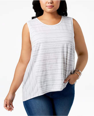 Style&Co. Style & Co Cotton Striped High-Low Hem Sleeveless Top, Created for Macy's