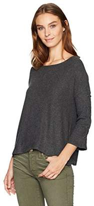 Velvet by Graham & Spencer Women's Cozy Rib Laceup Sleeve Pullover