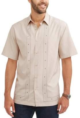 Cafe Luna Men's Short Sleeve L Shape Panel Woven Shirt