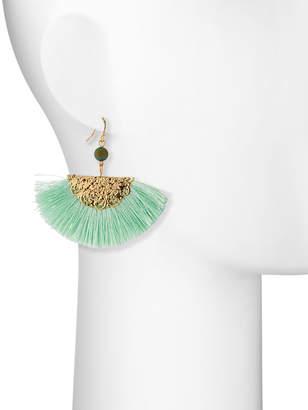Kenneth Jay Lane Threaded Fan Fringe Earrings, Mint