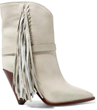 Isabel Marant Loffen Fringed Leather Ankle Boots - White