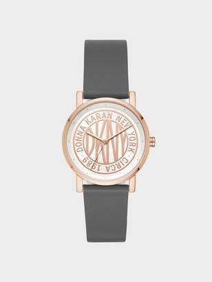 DKNY Soho 34mm Rose Gold-Tone Stainless-Steel Logo Watch With Leather Strap