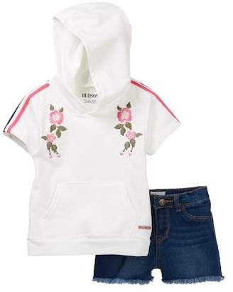 Hudson French Terry Pullover with Embroidery & Shorts (Toddler Girls)