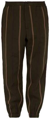 Etro Striped Linen Blend Trousers - Mens - Green