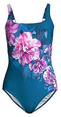 Gottex Swim Women's One-Piece Square-Neck Floral Swimsuit