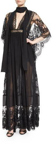 Elie Saab Bell-Sleeve Lace & Georgette Gown, Black
