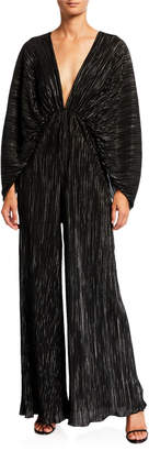 Rotate by Birger Christensen Number 46 Pleated Metallic Plunging Jumpsuit