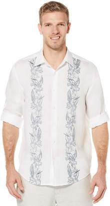 Cubavera 100% Linen Long Sleeve Tropical Print Shirt